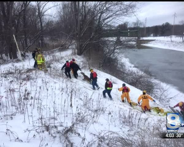 Spencerport firefighters rescue deer trapped in the canal_62448525