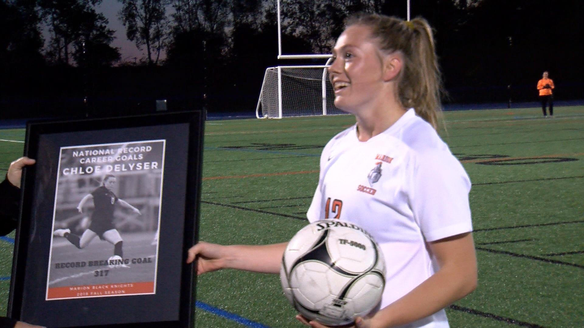 DeLyser of Marion sets U.S. girls soccer career scoring record