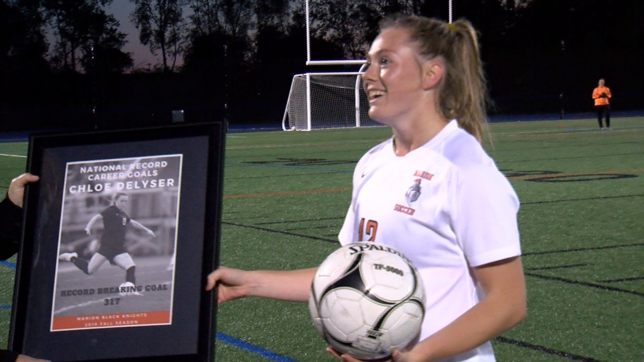 Marion soccer star Chloe DeLyser didn't officially break national goals record