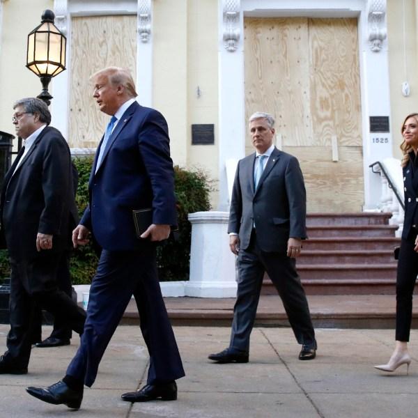 Donald Trump, William Barr, Robert O'Brien, Kayleigh McEnany