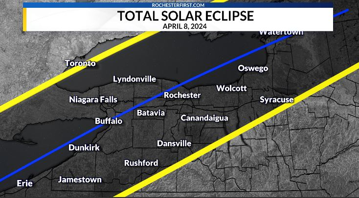 A rare total solar eclipse will occur in Western New York 3 years from today